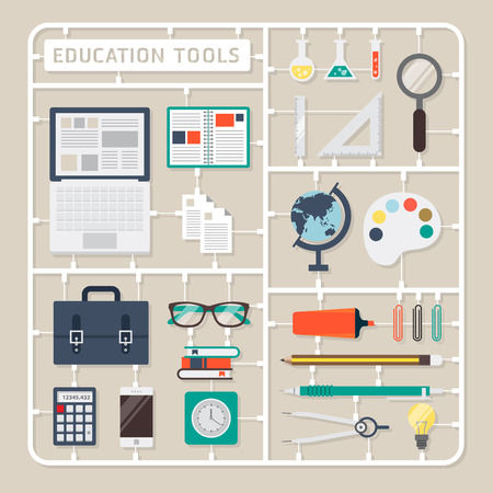 tools: Creative thinking vector flat design model kits for education tools.