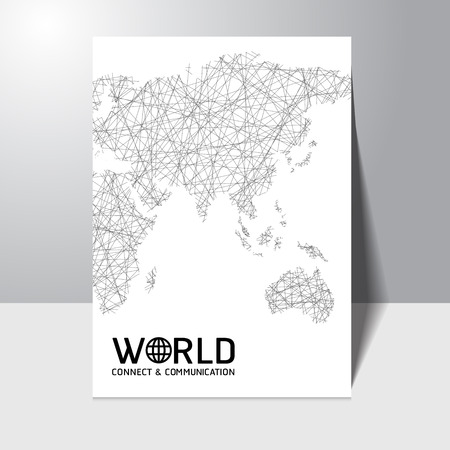 Abstract connect and communication world map concept Brochure Flyer design vector template Vector
