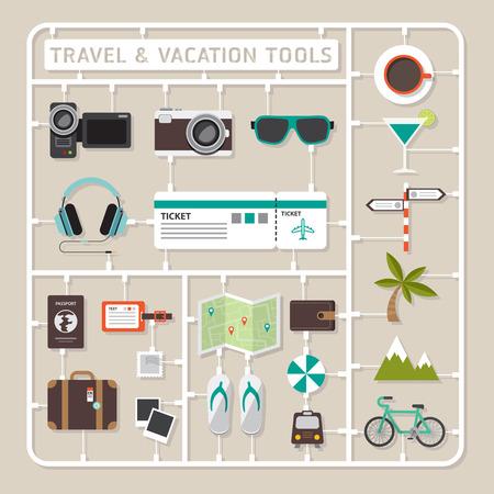 여행: 여행 및 휴가 도구에 대한 창의적 사고 벡터 평면 설계 모델 키트. 일러스트
