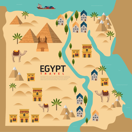 Design Egypt Travel and Landmark Concept.Vector
