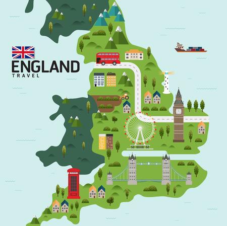 Infographic travel and landmark EnglandUnited Kingdom map shape template design Vettoriali