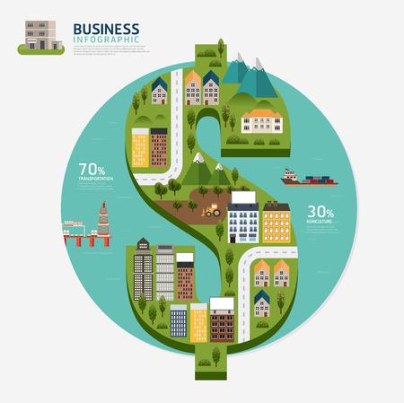 dollaro: Infografica business denaro modello di forma di dollaro design.business illustrazione successo concetto vettoriale
