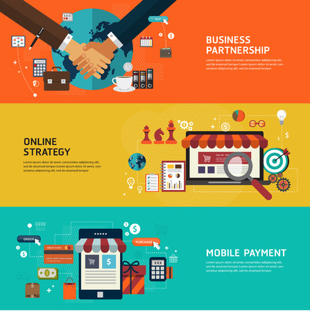 business solution: Design concepts for Business partnership Online strategy Mobile payment. Flat design concepts for web banners and printed materials and promotional materials. Illustration