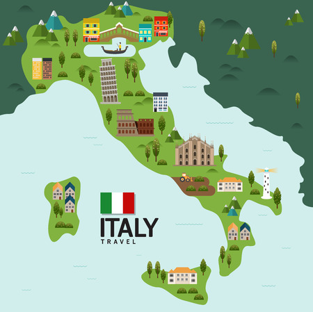 italy map: Design Italy and Milan Rome Travel and Landmark Concept.Vector