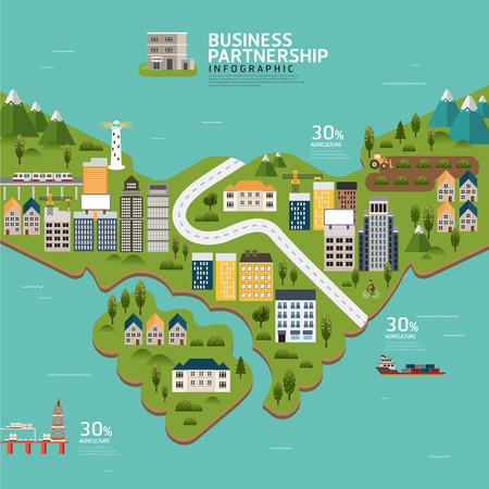 Infographic business partnership shape template design.business success concept vector illustration Illustration