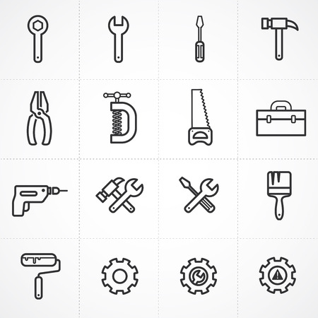 Vector tools icon set Illustration