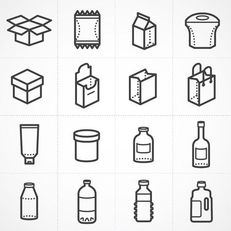 pocion: Caja del vector y de la botella del paquete conjunto de iconos