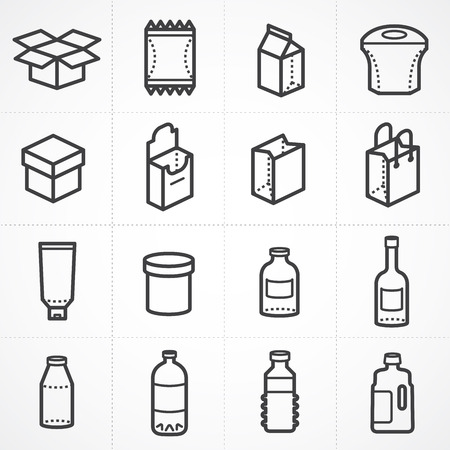 Vector box and bottle package icon set