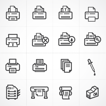 printing proof: Vector print icon set