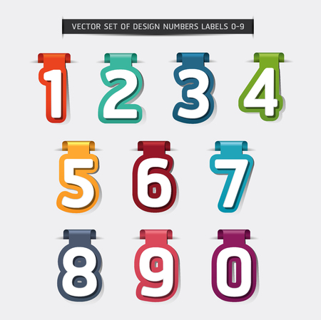Vector set of design numbers labels Illustration