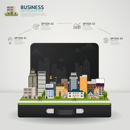 Vector Infographic Business concept. business briefcase with glowing city town earth globe success concept
