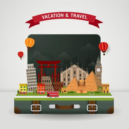 旅行: 世界旅行や休日の概念のベクトル。世界中の有名なモニュメントと開いているスーツケース。