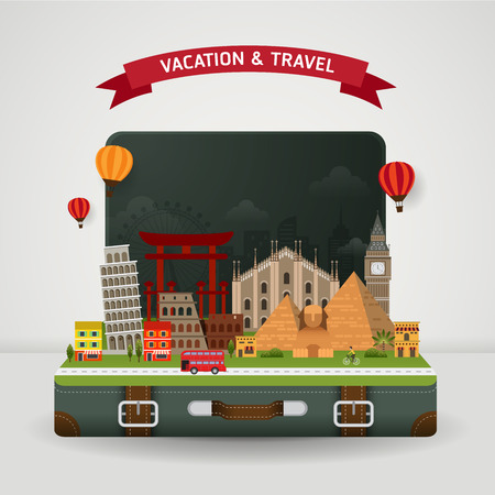 trip travel: Vector of world travel and Holidays concept. Open suitcase with famous monument around the world.