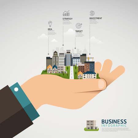 Infographic Business concept. businessman hand holding a glowing city town earth globe success concept Иллюстрация