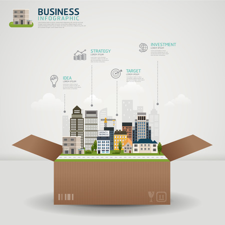 Infographic Business concept. business box with glowing city town earth globe success concept