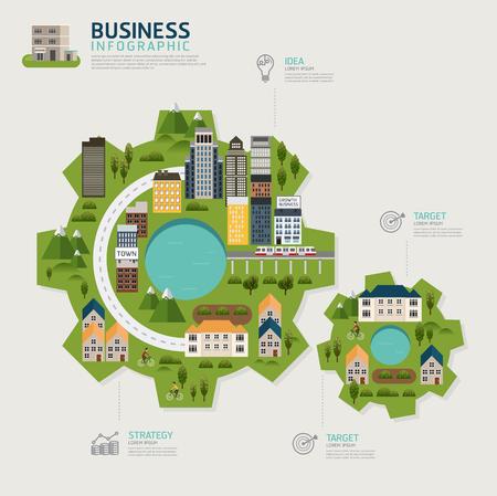 Infographic business gear shape template design.business success concept vector illustration. Business concept.