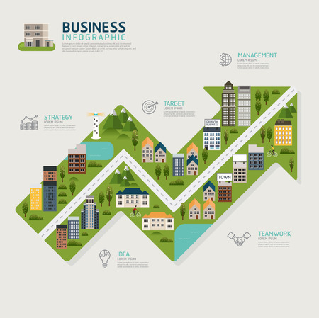 Infographic business arrow chart shape template design.business success concept vector illustration. Business concept.