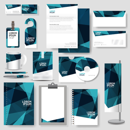 Technology corporate identity template Stationery design set in vector format Vectores
