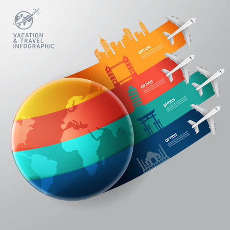 World of travel and vacation infographics concept
