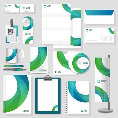 기술 기업의 정체성 템플릿 편지지 디자인 벡터 형식으로 설정 일러스트