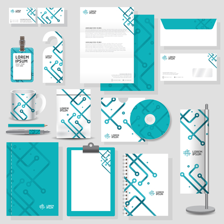 Technology corporate identity template Stationery design set in vector format Vettoriali