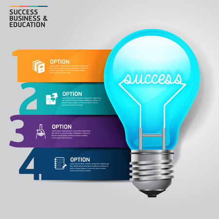 business education: Concept step success business and education light bulb infographics design template.