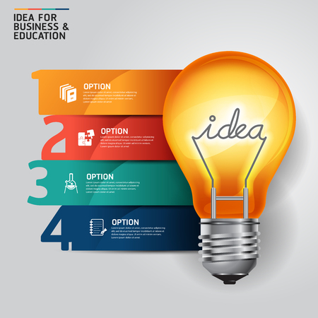 bright ideas: Concept idea light bulb infographics design template.