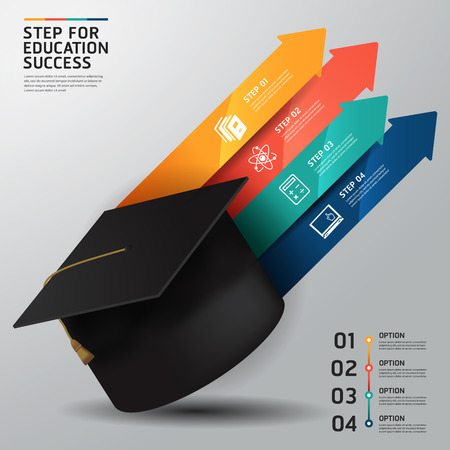 step success education concept infographics. Vector illustration. can be used for workflow layout, banner Иллюстрация