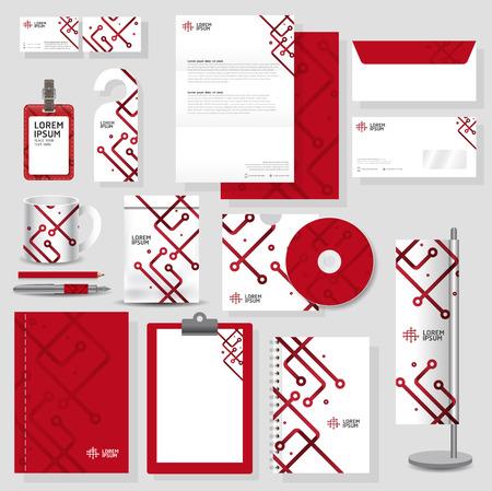 papeleria: Tecnología identidad corporativa diseño de plantilla Set estacionario en formato vectorial