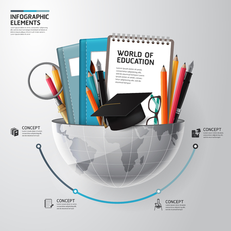 교육: 교육 개념 인포 그래픽의 세계. 벡터 일러스트 레이 션. 워크 플로우 레이아웃, 배너,도 사용될 수있다 일러스트