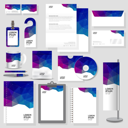 triangle background: Technology corporate identity template Stationery design set in vector format Illustration