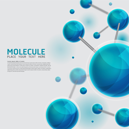 biotech: Abstract molecules design. Vector Medical scientific Atoms and biology cell.