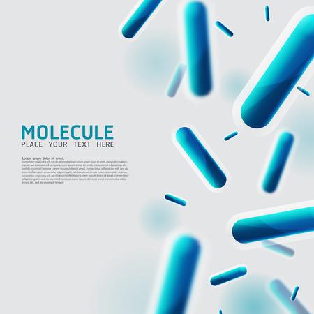 Moléculas abstractas, bacterias, células, diseño de virus. Vector Medical Átomos científicos y biología celular.