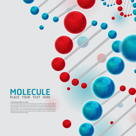 Abstract DNA molecules, cell design. Vector Medical scientific Atoms and biology cell. Illustration