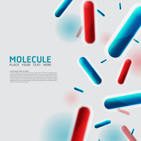 bacterias: Moléculas abstractas, bacterias, células, diseño de virus. Vector Medical Átomos científicos y biología celular.