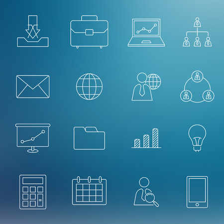 business meeting computer: modern thin line business icons Illustration