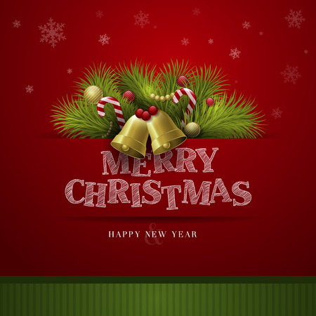 christmas concept: Vector Christmas Background with ornaments and Christmas tree with glossy balls