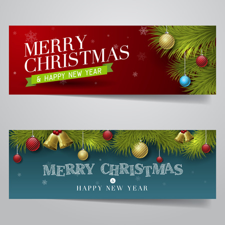 christmas banner: Vector Merry Christmas, banner design