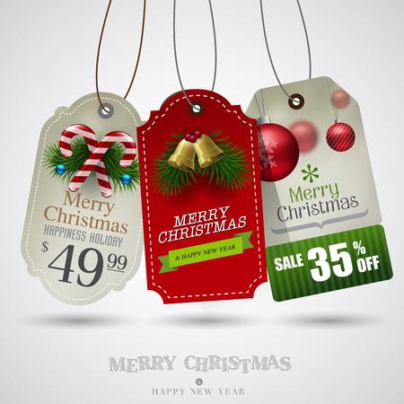 sale tags: Vector vintage Christmas sale tags Illustration
