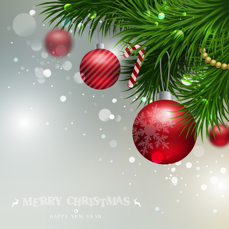 ornament: Vector Christmas Background with ornaments glossy balls and Christmas tree