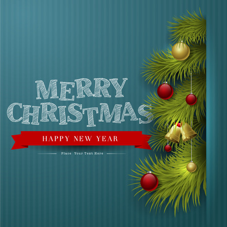 year greetings: Vector Christmas Background with ornaments and Christmas tree with glossy balls
