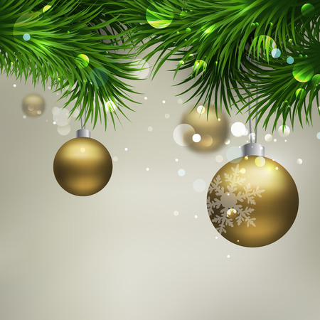 christmas  ornament: Christmas Background with ornaments glossy balls and Christmas tree Illustration