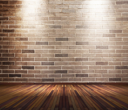 wall light: Old interior room with brick wall and two light spots