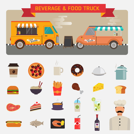 frozen fish: Flat design icons set of wagon full of tasty summer food, meals, drinks beverage materials