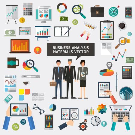 human resource: Set of flat materials design concept business analysis, analytics, analyst. business planning Illustration