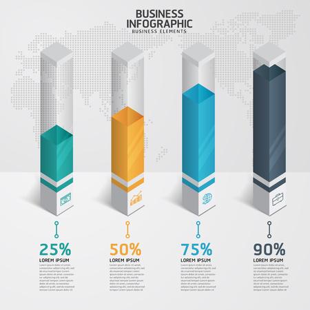 grafica de barras: Infografía plantilla de diseño y los iconos de marketing, concepto de negocios con 4 opciones, partes, etapas o procesos. Vectores