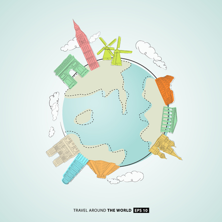 illustration of world famous monuments around globe