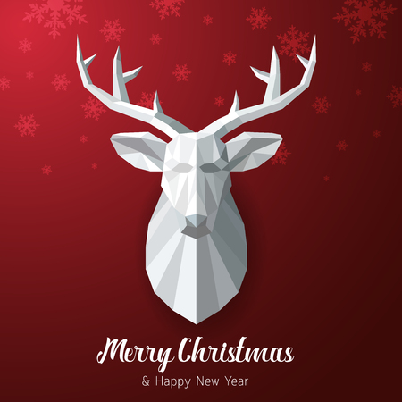 red deer: Vector Merry Christmas and Happy New Year red background with Triangular Paper deer head