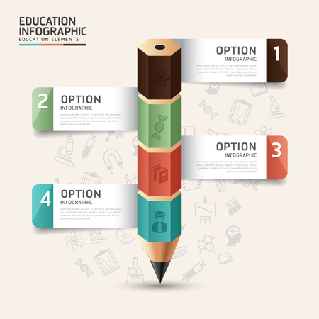 successful student: Infographic template in the form of a pencil with 4 options, steps, parts. Vector banner for business or educational infographics  can be used for infographics  numbered banners