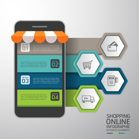 e commerce: Infographics Shopping online business conceptual with mobile flat style. Vector illustration. Can be used for workflow layout template, banner, diagram, number options, web design, infographics